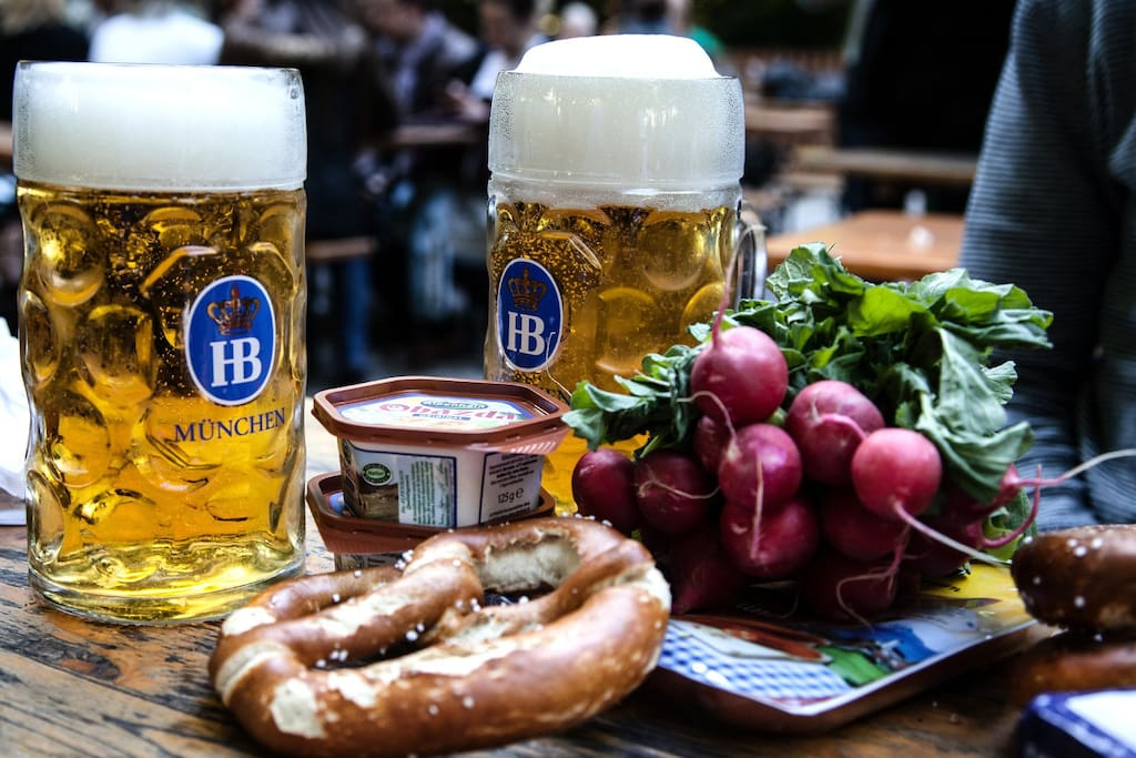 "The traditional ""Maß Beer"" in a Bavarian beergarden"