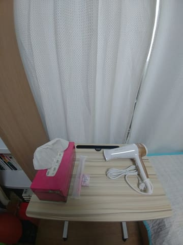 Tissue, Tooth brush and soap provided, hair drier