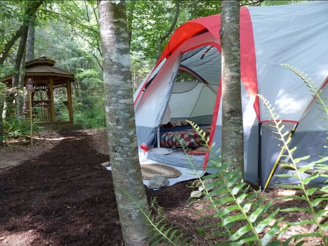 Stream-side Glamping Tent with Gazebo