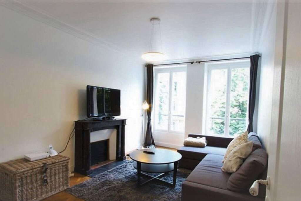 Spacious and typical Parisian 20m² living room with very comfortable queen size sofa bed