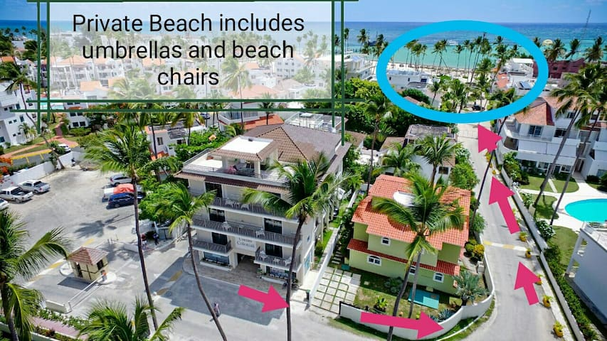 Private beach just 2 minutes walking distante, umbrellas and beach chairs included in the price