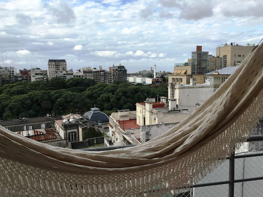 The view from the Hammock in the Balcony!