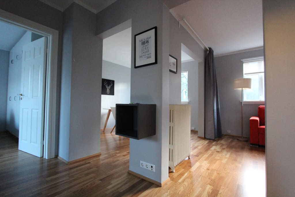 When entering the apartment, the kitchen is on the left, on this picture you see the bedroom door on the left, then the dining room and living room on the right. The bathroom is then on your right