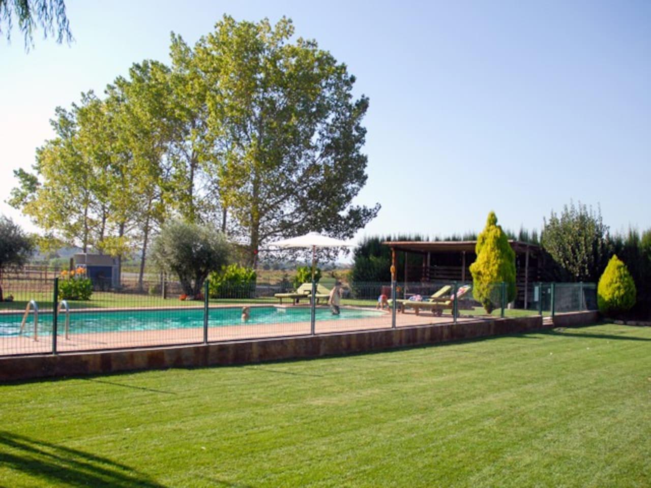 jardín i piscina
