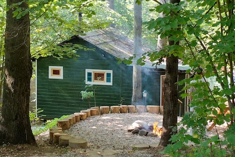 Forester's house with forest bath