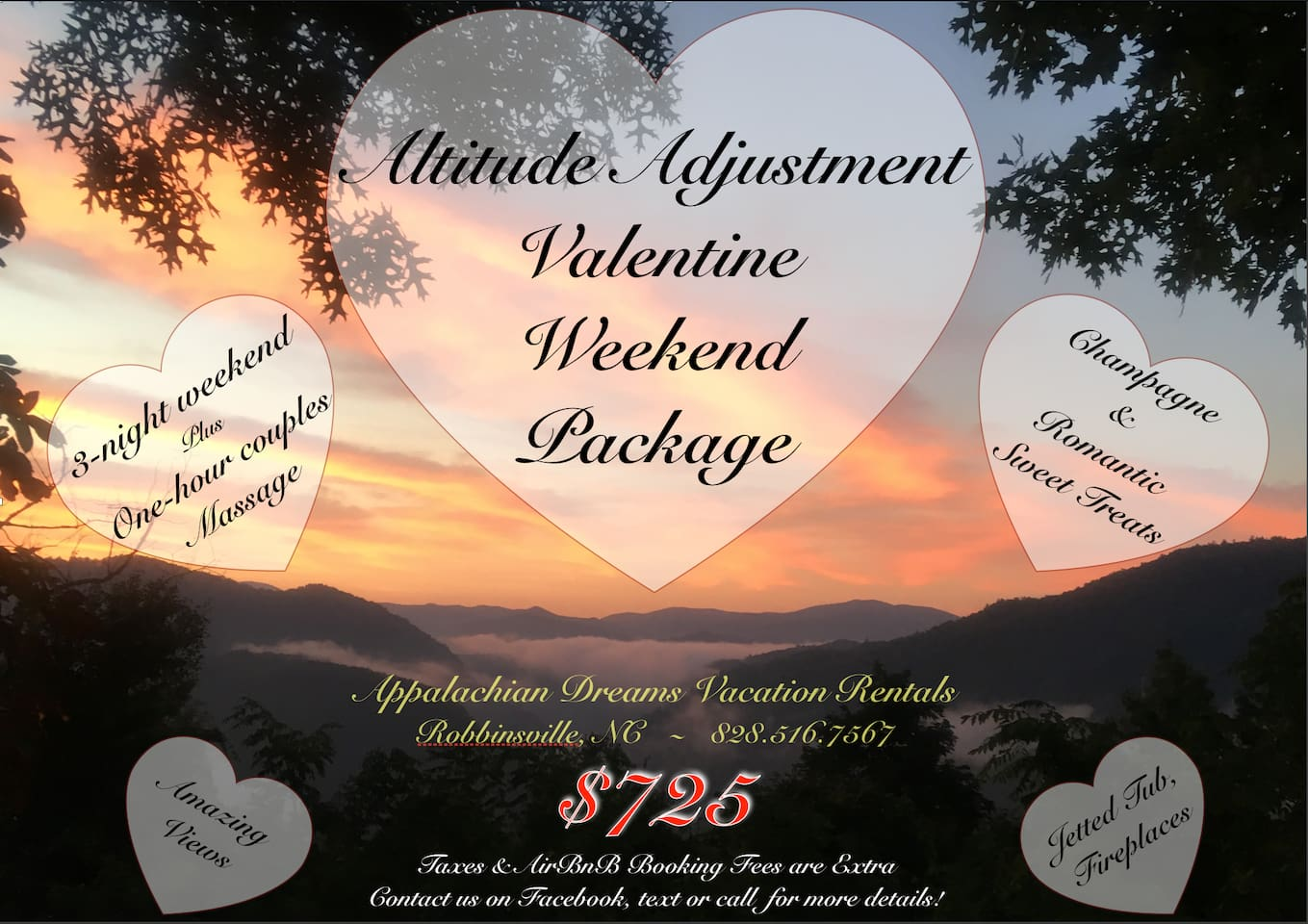 Valentine 2020 weekend package! Message us for more details & booking instructions!