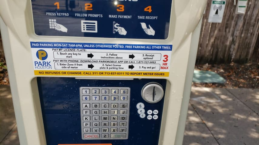 Here is an image of the outside street meter where you pay for parking.