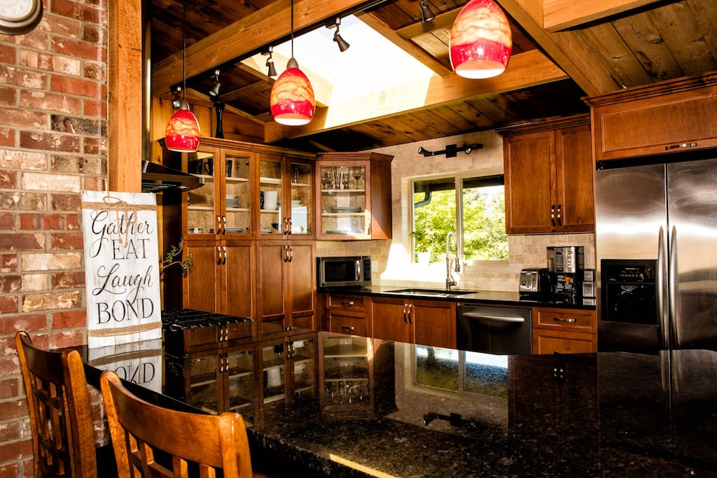 Fully equipped kitchen with an ocean view.