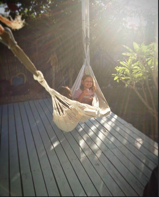Relaxing hammock on the sunny deck.