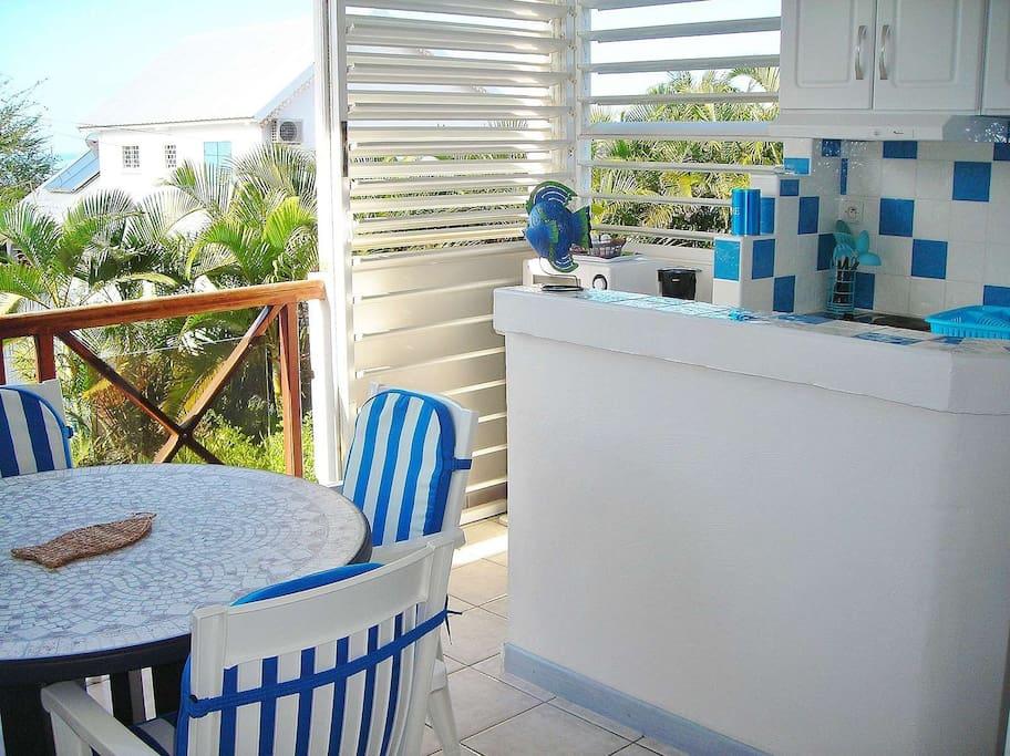 Terrasse + cuisine avec baie amovible.