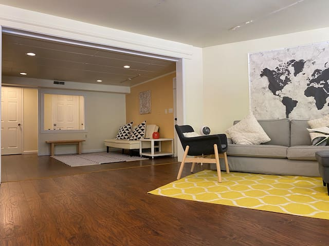 Open floor plan is relaxing but separate enough for people to do their own thing.
