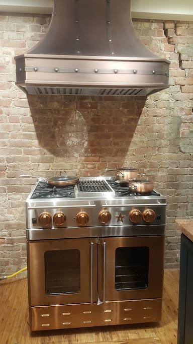 "Professional Blue Star 36"" gas copper stove, grill and hood"