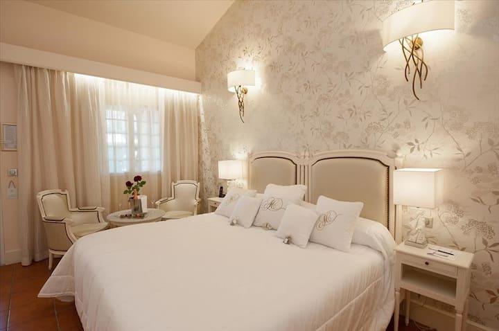 Chambre dotée d'une terrasse dans le jardin du mas provençal, accès libre au spa