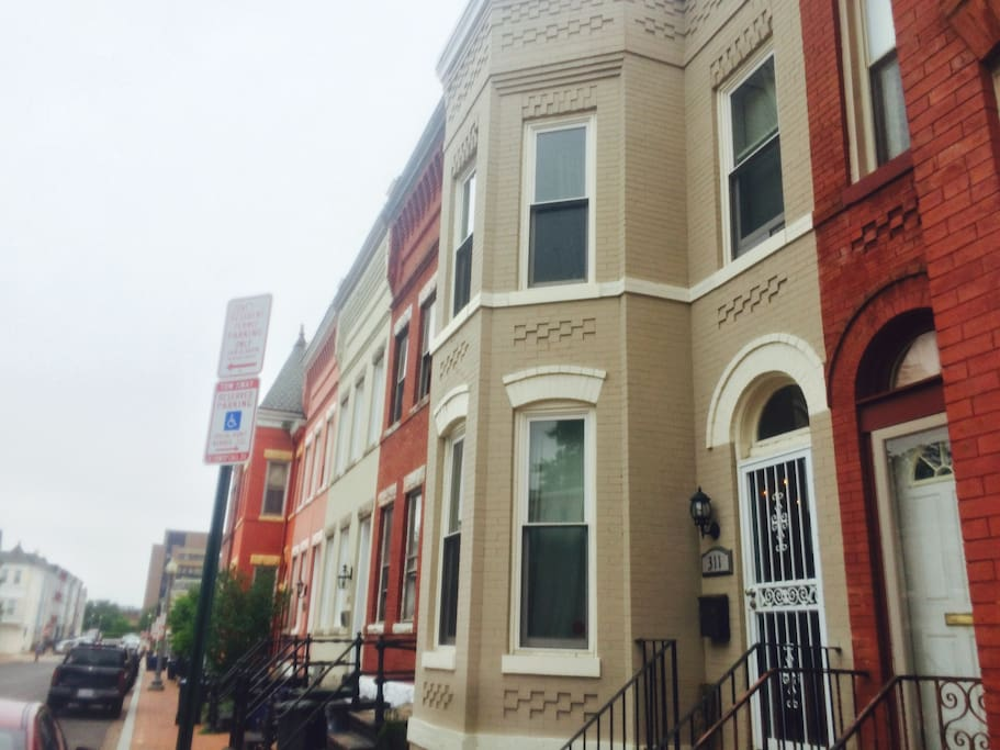 This is the house. Classic DC row house.