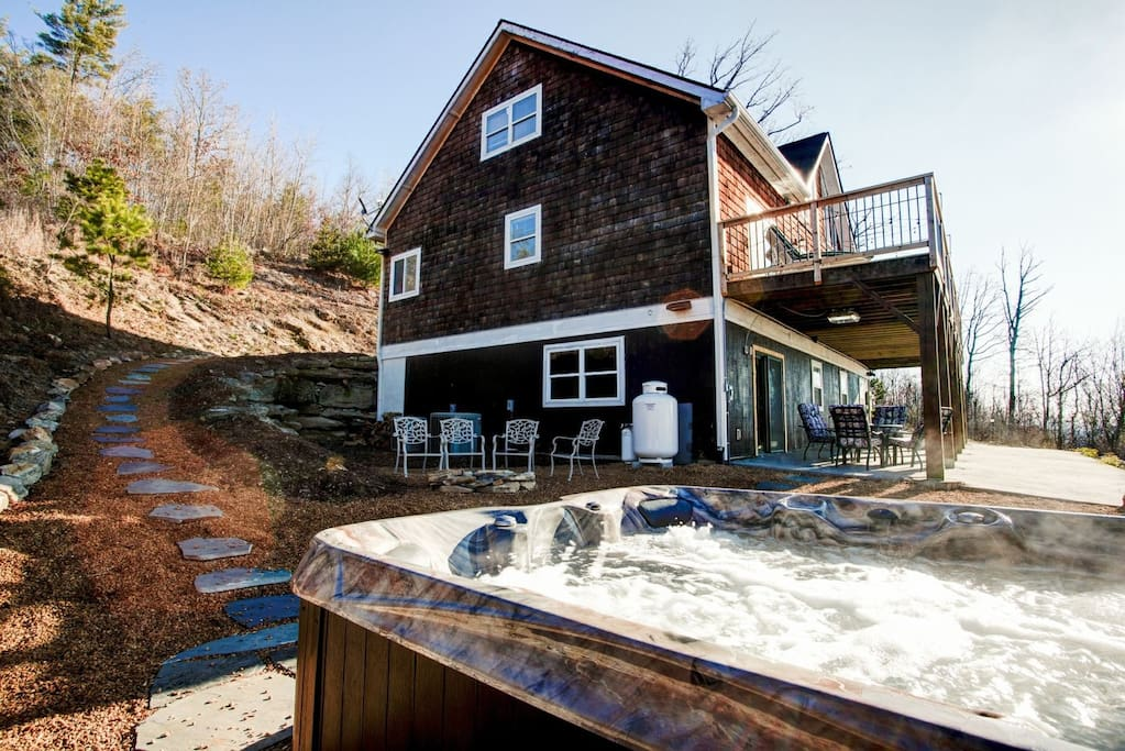 Hot tub only a few steps away from your vacation home.