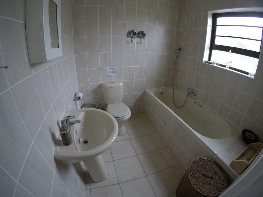 Full bathroom with bath and shower head.