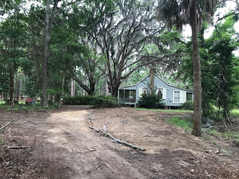 We just replaced the septic drain lines so be careful not to drive on the area between the white pipe and the house. Also, do not remove the septic tank tops that are exposed next to the azaleas!   Thank you
