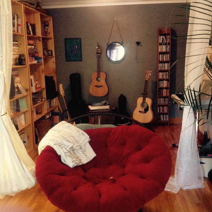 Living room- Books and music!