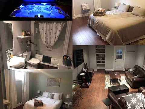 4 guests. Hot Tub, Separate Entry, King Bed