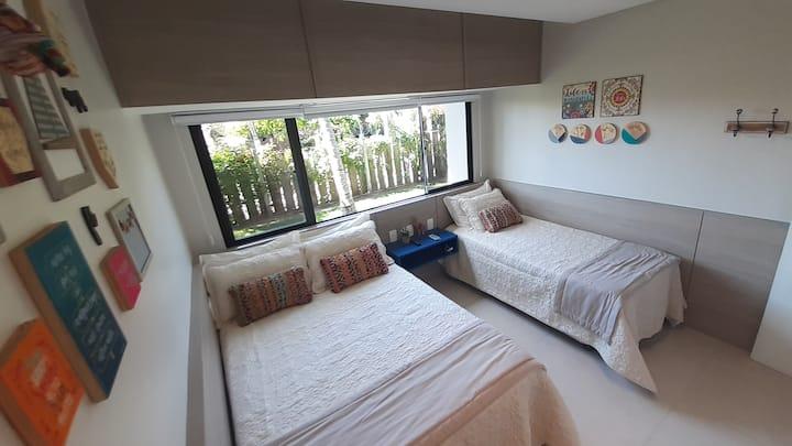 Flat 12 Guarajuba Summer Sala vira quarto 6 pessoa