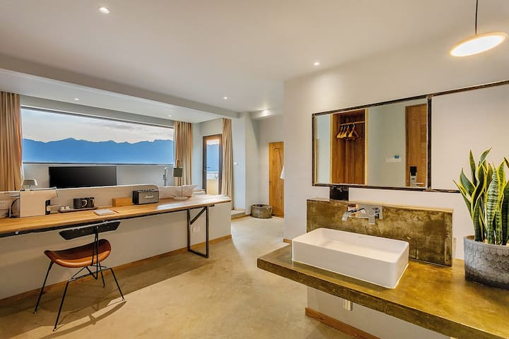 高品质海景浴缸大床房—独栋别墅/有早餐—免费接机接站—网红游泳池拍照