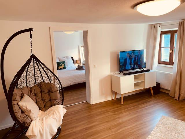 Cozy & modern &Netflix Wohnung mit Blick ins Grüne