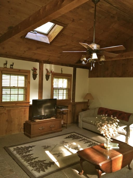 Great room with couch and a full futon. Sleeps 2