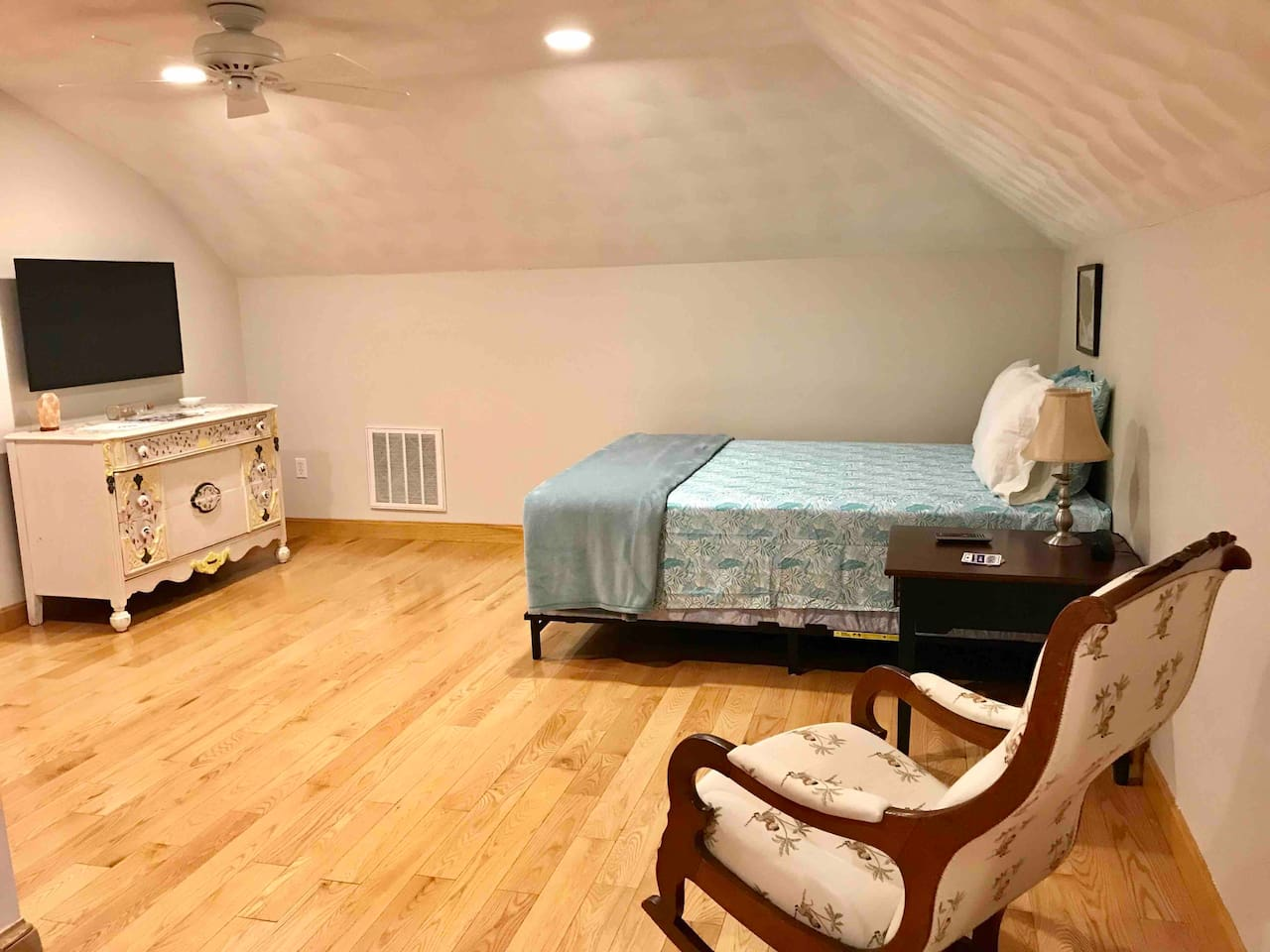 Master bedroom with new queen sized bed and 43 inch smart TV