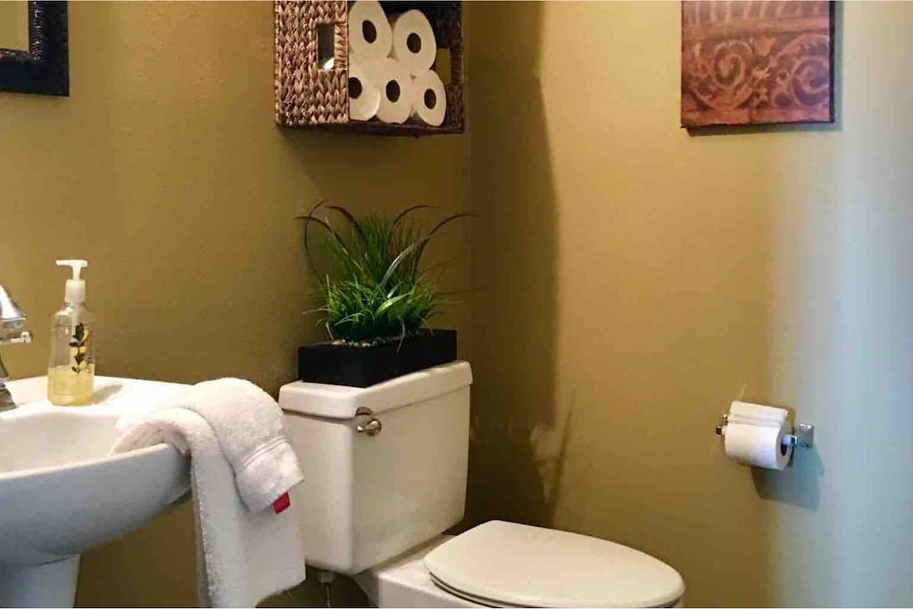 Additional shared half bathroom.  Located on first floor.