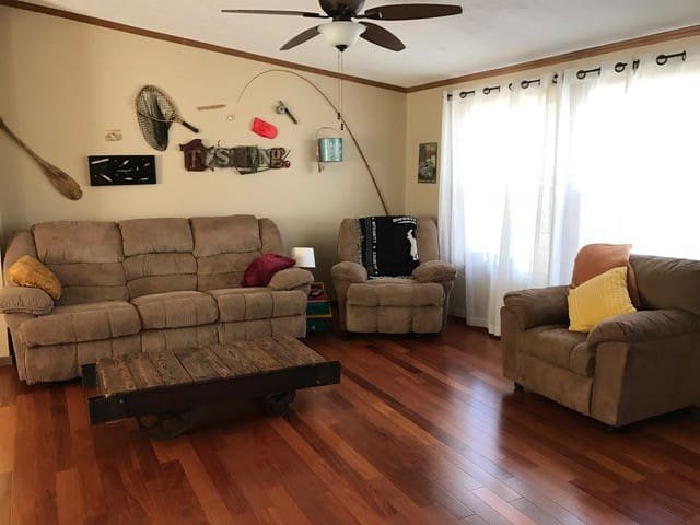 Large Living Room with reclining sofa, rocker and additional seating