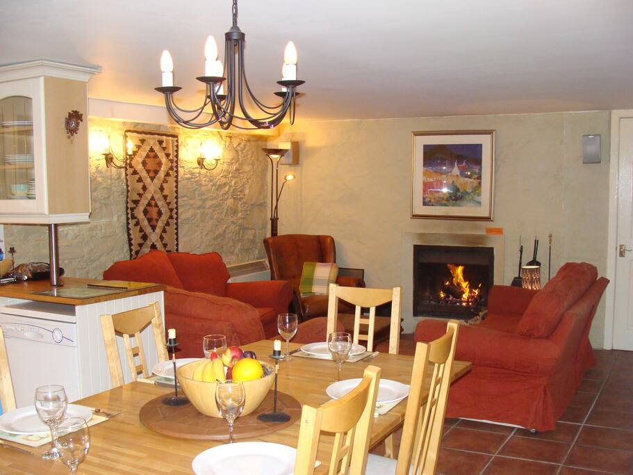 Relax by the fire and dine in style