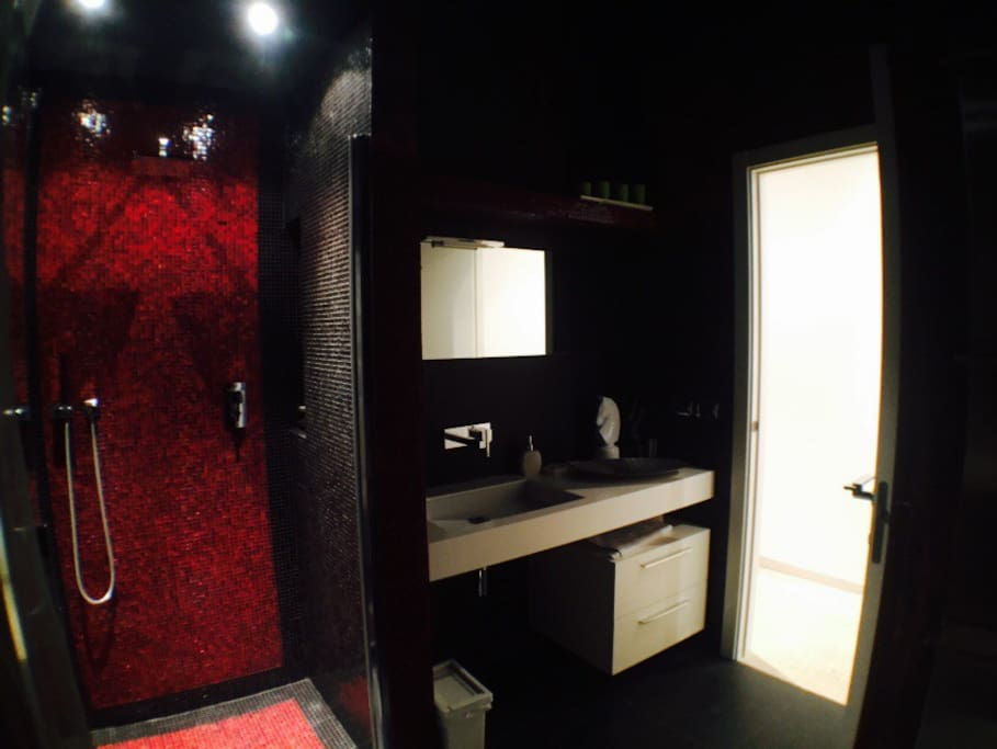 bathroom black and red. Large shower with mosaic. Hot water guaranteed in abundance.