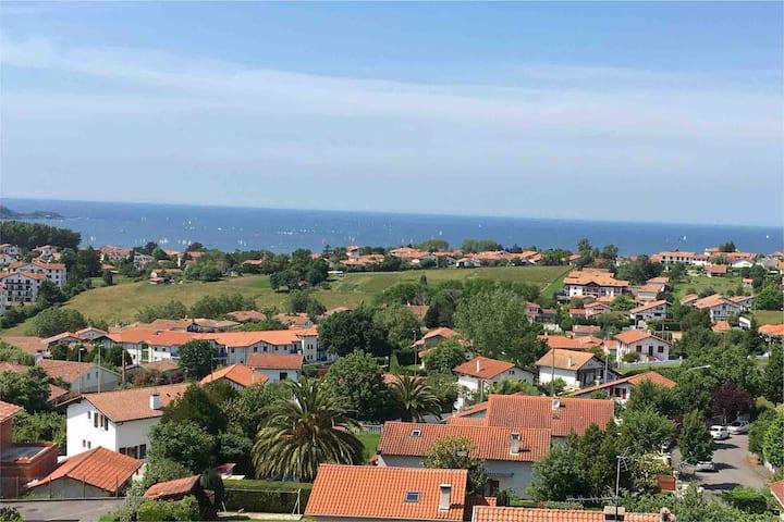 T3, 65m2 avec terrasse surplombant Hendaye -Plage