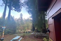 View of the Van Duzen River and totem pole from front door of cottage