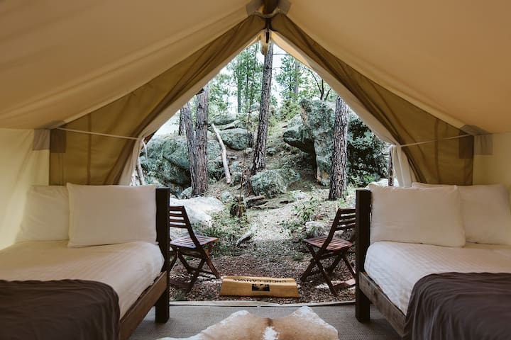 Under Canvas Rushmore Safari Tent with 3 twin beds