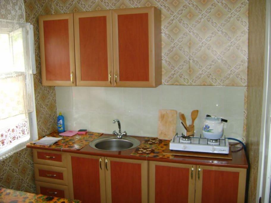 Просторная кухня, газовая плита.