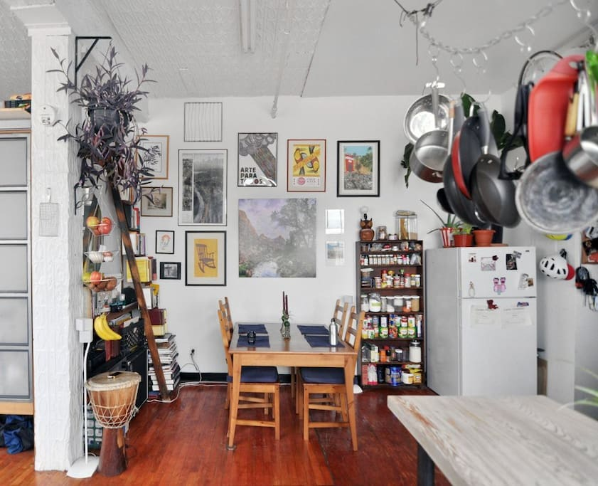 Dining room/music receiver/art!/books/records