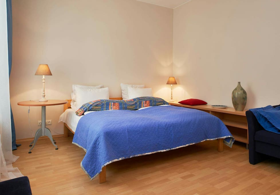 Bedroom which has double bed 180×200 plus single bed