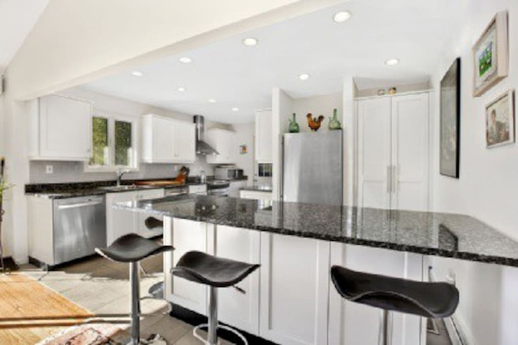This is kitchen, it is a state of the art cooks kitchen with all the dishes, pots and pans you could want.
