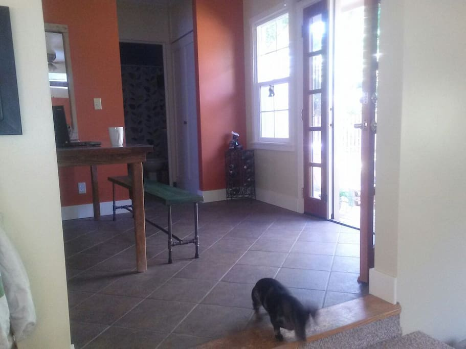 Dining room with access to the backyard.