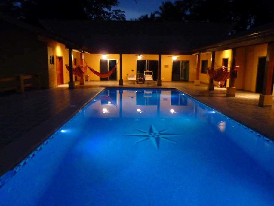 Salt water pool at night