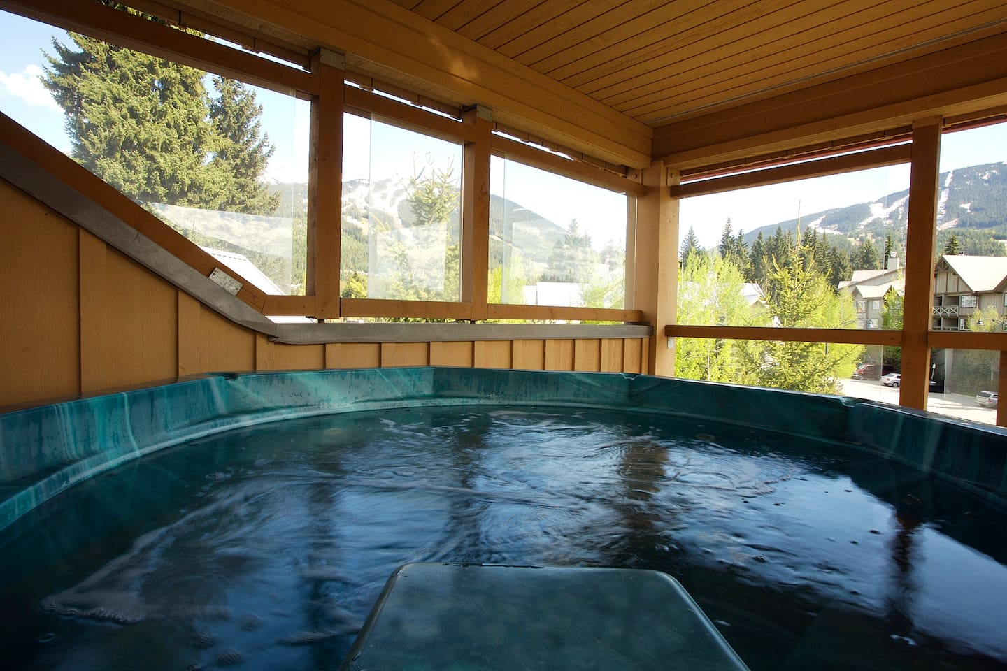 Exclusive views of both Whistler and Blackcomb Mtns. from private Hot Tub off master bedroom