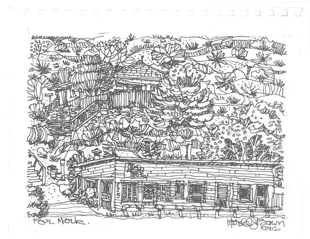 This is a Harold Brown drawing of the building. The main street is right in front of it.  Parking is in back.