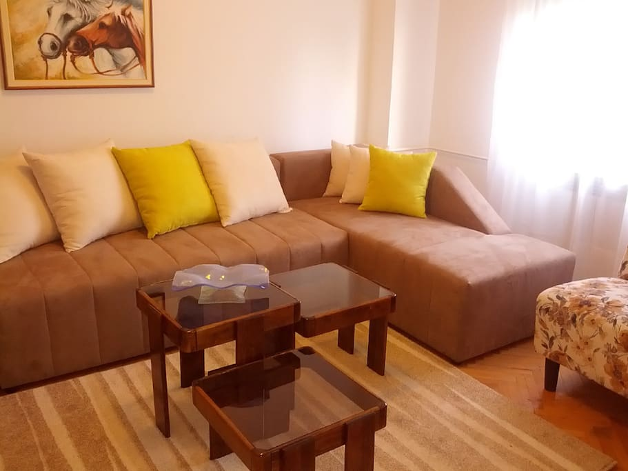 The living area.  It easely transforms in one double bed and one smaller single bed.