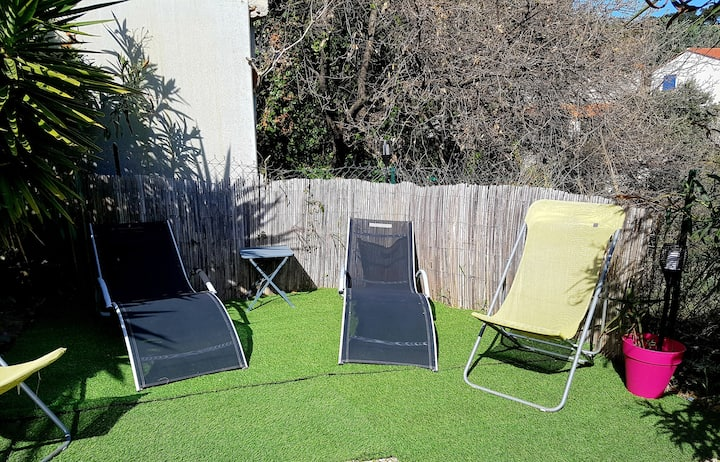 Appart au calme avec jardin,clim, terrasse,parking