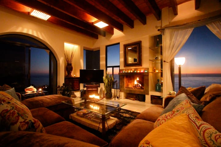 Our living room at sunset with the fire going.