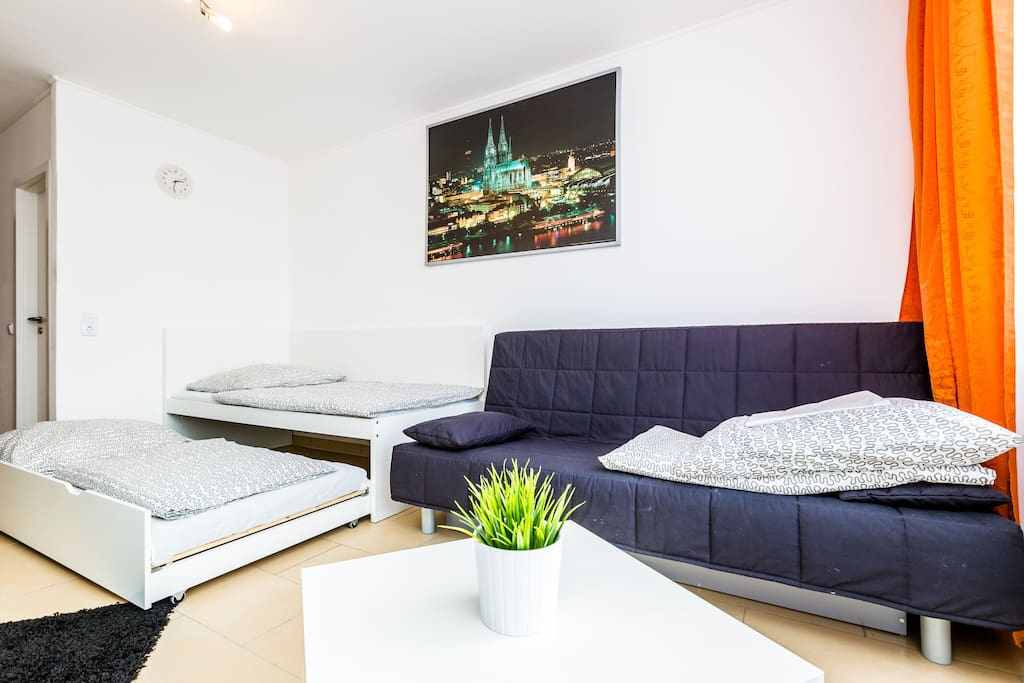 Wohnschlafzimmer/ living- and sleepingroom with two singel beds and a sofa