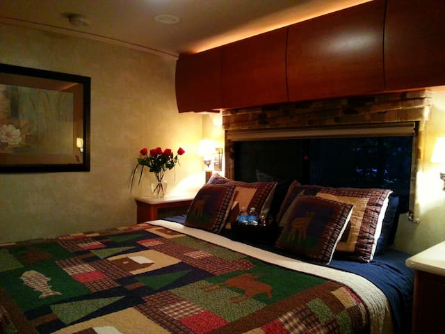 Luxurious and comfortable main room with king sized bed.