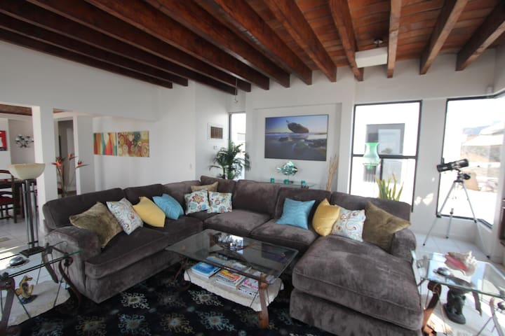Our cozy, comfy,  living room during the day w/daybed that overlooks the ocean.
