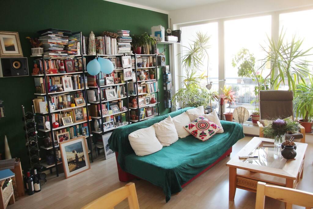 Bücherwand im Rücken der Couch im Wohnzimmer. Wenn das Wetter mal so richtig saugt, könnt ihr euch hier eingraben.